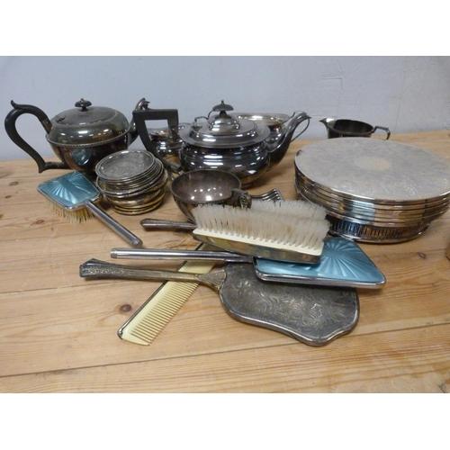 25 - Epns dressing table set, ep teapots, coasters etc