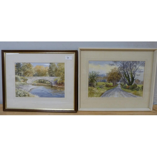 31 - R A KeithKettleholm Bridge and anotherWatercolours (2)