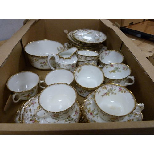 35 - Floral and gilt decorated teaset