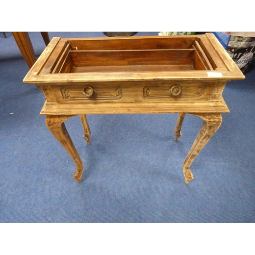 4 - Oak side table raised on cabriole supports
