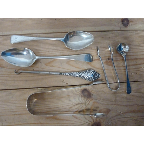 42 - Two pairs of silver sugar tongs and other items 106g