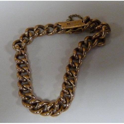 49 - 15ct gold men's curb link bracelet 18g