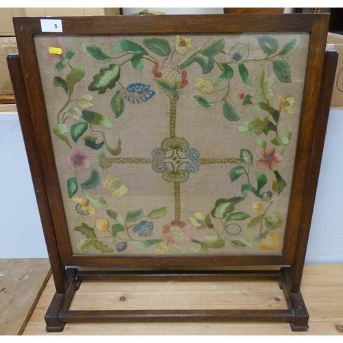 5 - Oak tapestry firescreen of floral design