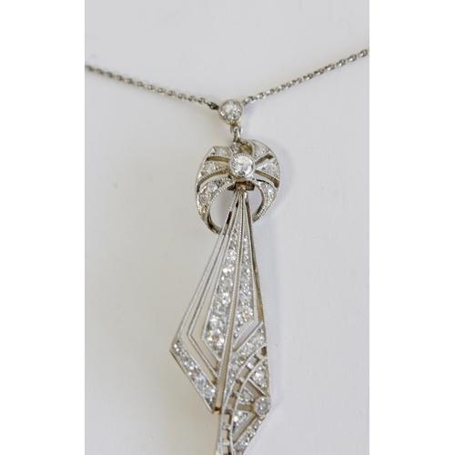 51 - Edwardian diamond set pendant of stylised triangular form, 18ct gold and platinum...