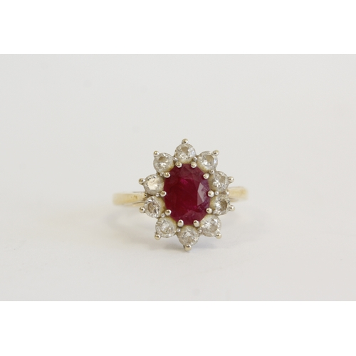 53 - 18ct gold cluster ring with oval ruby approx 1.5ct and diamonds Size N...