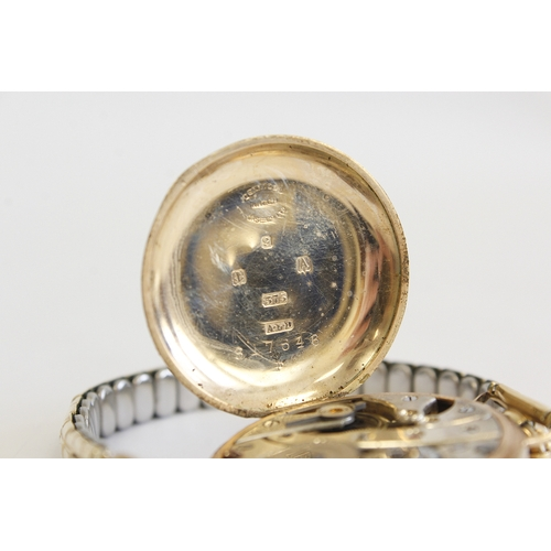 57 - 9ct gold Gents Smiths wristwatch and another, metal bracelets...
