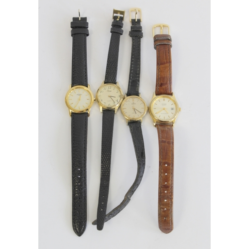 58 - Four ladies gold plated wrist watches...