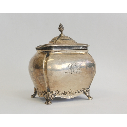 60 - Silver tea caddy of bulbous rectangular form, hinged lid engraved MCC Chester 1901 also a Georgian s...