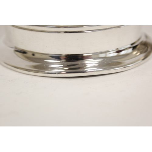 41 - Silver pint mug, tapering, with reeded band and handle, Sheffield 1942.