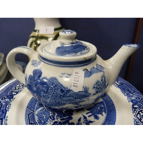 1 - Assorted blue and white ceramics including ashets, tureens, teapot, also a floral decorated vase and...
