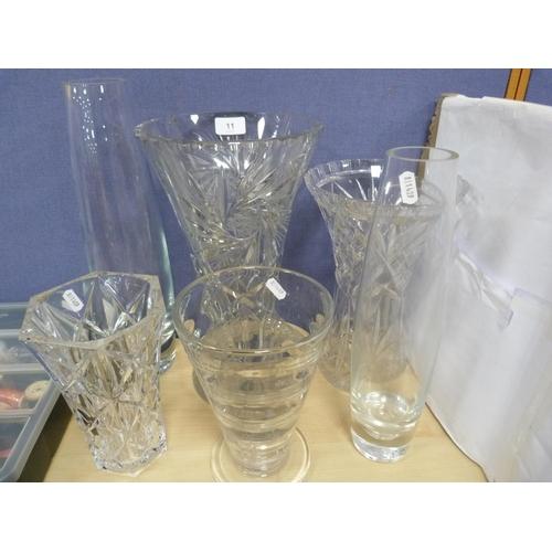 11 - Six assorted vases including a large Edinburgh Crystal Star vase.