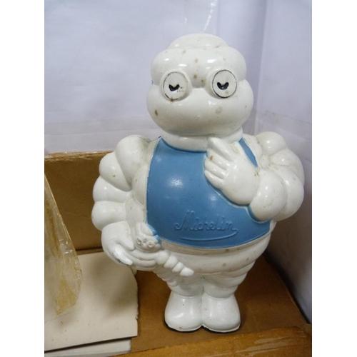 12 - Duckhams half pint tankards and a Michelin Man figure.