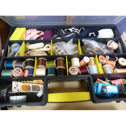 13 - Sewing box with needles, threads etc., also a pair of binoculars.