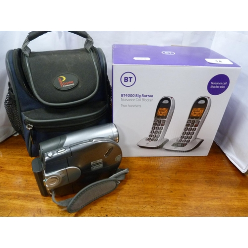 14 - Set of cordless telephones and a Samsung camcorder.