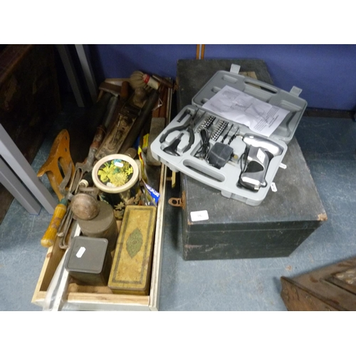 16 - Vintage toolbox including saws, planes, garden forks, also an electric screwdriver etc.