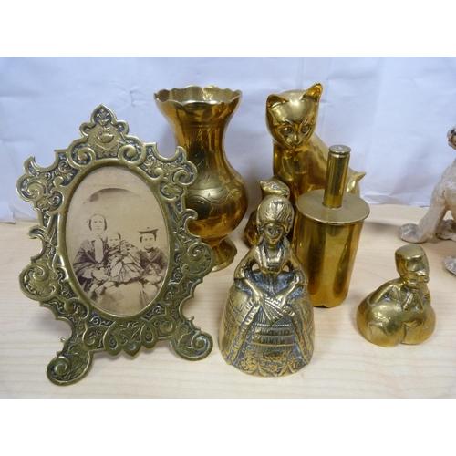 2 - Figure of a cat, dog, brass photograph frame, bell, vase etc.
