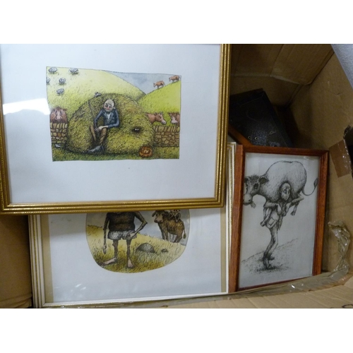 20 - Carton containing large collection of assorted pictures including watercolours, prints etc