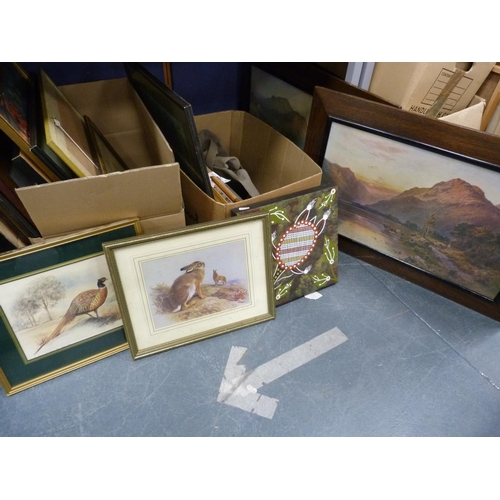 21 - Pair of oak-framed prints after De Breanski, also two cartons of assorted framed pictures and prints...