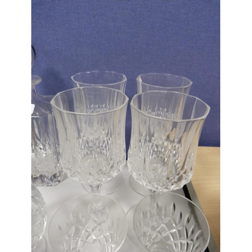 22 - Assorted glassware including brandy glasses, water glasses, vases, decanter etc.