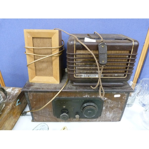 24 - Monarch 3 transistor, Philips Bakelite speaker and another.