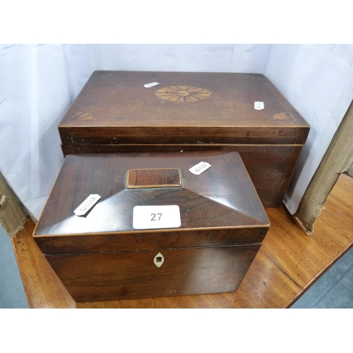 27 - Rosewood tea caddy of sarcophagus form and a mahogany and inlaid box.
