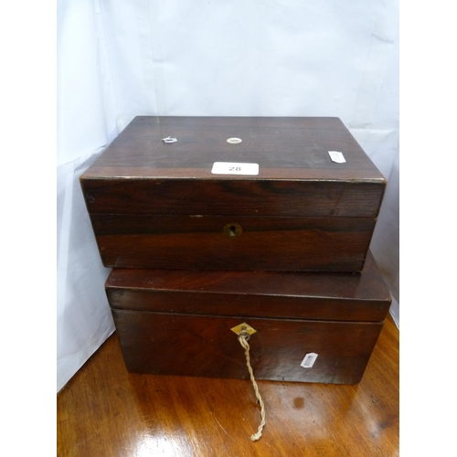 28 - Rosewood box, and another, mahogany. (2)