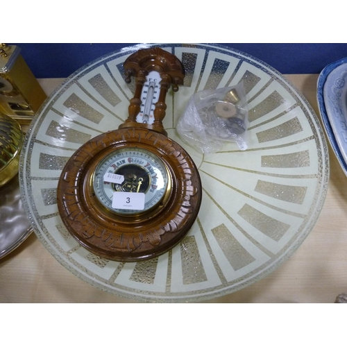 3 - Aneroid barometer and a large glass shade of circular form.