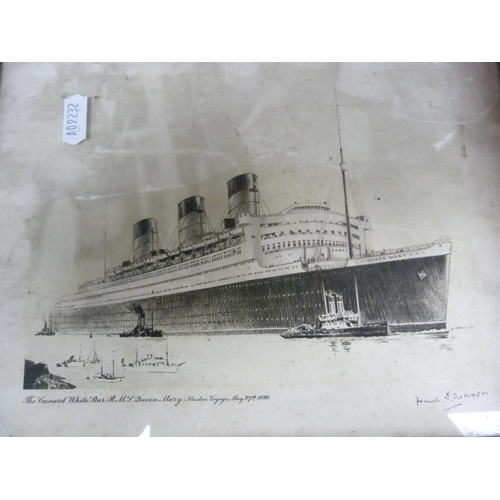 31 - Print of the Cunard White Star liner, Queen Mary, vintage Waterline Ship Model books and aircraft bo...
