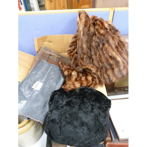33 - Assorted furs including stoles, small jacket, also a leather dispatch bag and another.