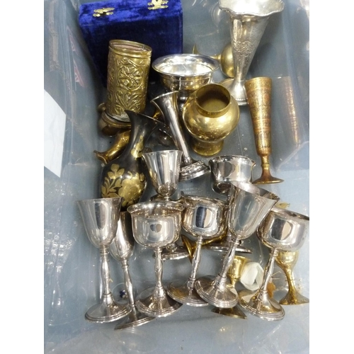 39 - Carton of plated goblets, brass vases, egg cups etc.