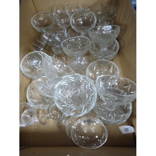 40 - Assorted glasses and dessert bowls.