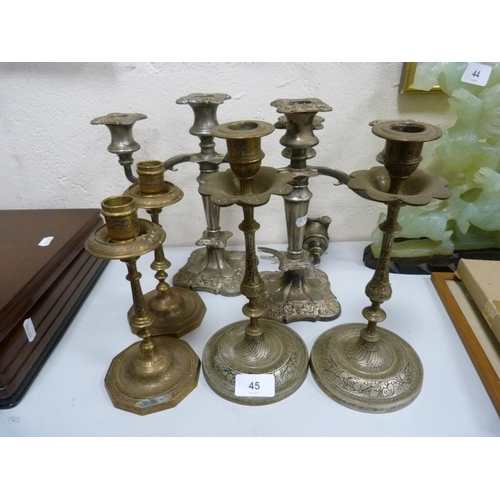 45 - Three sets of candlesticks.