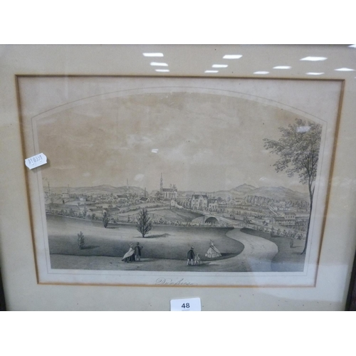 48 - Etching of Dumfries in faux rosewood frame.