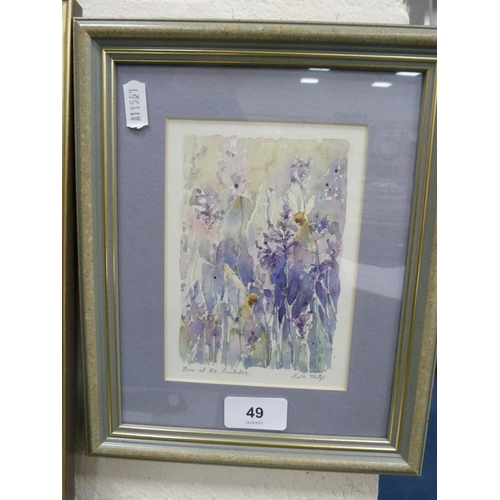 49 - KATE PHILP, bees at the lavender, watercolour.