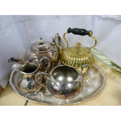 5 - Three-piece tea set, brass kettle, two clocks and assorted shells.