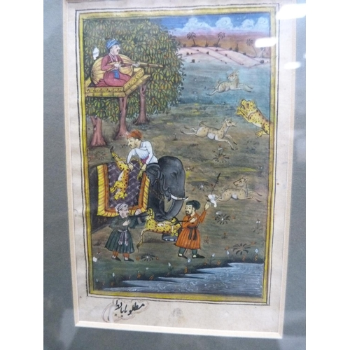 51 - Vintage Indian painting of leopard hunting.