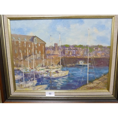 52 - JR HENDERSON, North Berwick harbour, acrylic on board.