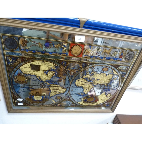 55 - Mirrored map, framed print of whisky and another of a bath.