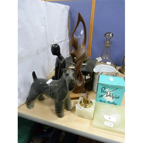 6 - Ceramic figure of a dog, figurines, Caithness Glass including carafe, decanter, Pendelfin figure, on...