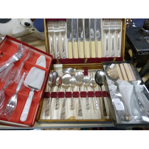 7 - Hip flasks, quaich, set of plated goblets and tray, assorted flatware etc.