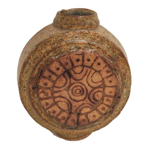 Studio pottery 'moon flask' vase.