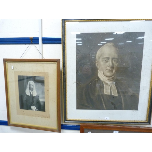 27 - Print depicting a 19th century minister, another framed photograph of Arthur W Peel, Speaker, August...