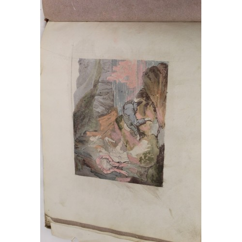 27 - Artist Unknown.Oblong album of watercolour drawings & sketches. Approx. 32 in total incl. Lake...