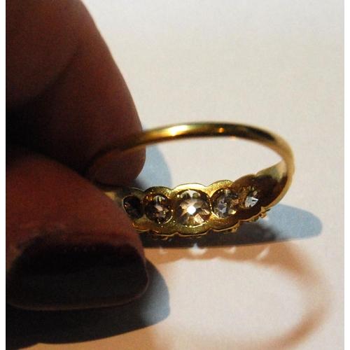 23 - Victorian diamond five-stone half hoop ring, old-cut brilliants, in gold, size Q.