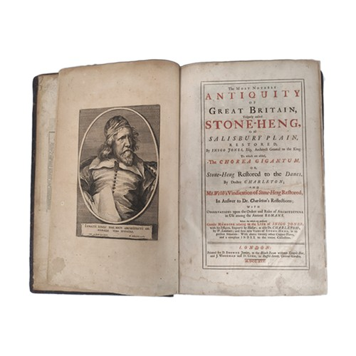 JONES INIGO & others.The Most Notable Antiquity of Great Britain, Vulgarly Called Stone-Heng. Port. frontis, rubricated title & general index (reps. to early leaves with tear with loss to b1). This vol. contains (1) Inigo Jones, The Most Notable Antiquity of Great Britain, 11 fldg. & other eng. plates & 3 text diags., 2nd ed., 1725; (2) Walter Charleton, Chorea Gigantum or The Most Famous Antiquity of Great Britain, 2nd ed., 1725 & (3) John Webb, A Vindication of Stone-Heng Restored, eng. text illus., 2nd ed., 1725. Folio. In recased panelled calf.
