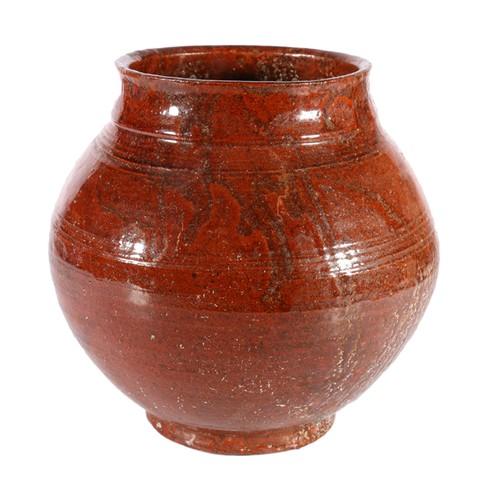 Terracotta pottery pot vase, unsigned, 21cm tall