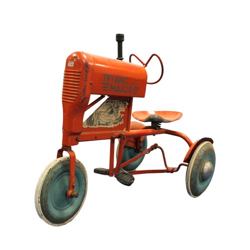 Vintage Triang Major tractor peddle car in red oxide paint with applied engine decals to the side. Play worn with surface rust to body.