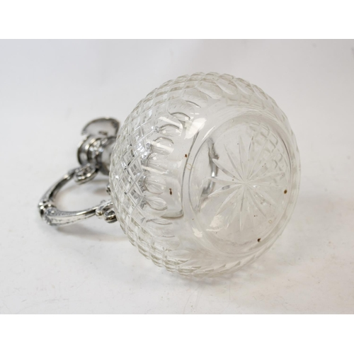 1 - German late 19th century cut glass claret jug of shaft and globe form, with silver mount and knopped...