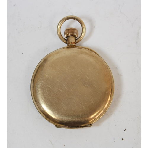 10 - Waltham rolled gold openface watch on gold guard, part 9ct.