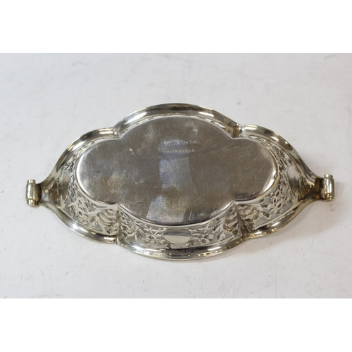 24 - Pair of silver sweetmeat baskets of an oval lobed shape, pierced and embossed, Sheffield 1896, 6oz /...